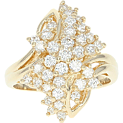 Diamond Cluster Bypass Ring - 14k Yellow Gold Size 5 3/4 Round Cut 1.00ctw