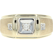 Men's Diamond Ring - 10k Yellow Gold Size 10 1/4 Round Brilliant .10ctw