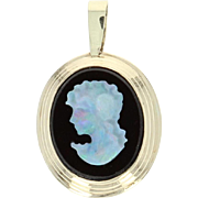 Carved Opal & Onyx Cameo Pendant - 14k Yellow Gold Women's Gift