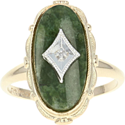 Vintage Jadeite Jade Ring - 10k Yellow Gold Diamond Accent Size 5 3/4