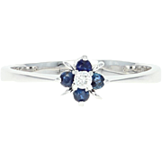 Diamond & Sapphire Ring - 14k Gold Promise Engagement Round Brilliant .21ctw