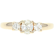 Diamond Engagement Ring - 14k Yellow Gold Size 5 Oval Brilliant .46ctw