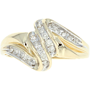 Diamond Bypass Ring - 14k Yellow Gold Round Brilliant Cut .27ctw
