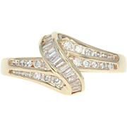 Diamond Bypass Ring - 14k Yellow Gold Baguette & Round Brilliant .45ctw