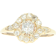 Edwardian Diamond Bypass Halo Ring - 18k Gold Antique Old Mine Cushion .86ctw