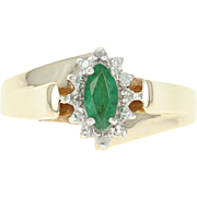 Emerald & Diamond Halo Bypass Ring - 10k Yellow Gold Marquise Brilliant .33ctw