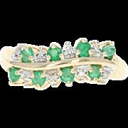 Emerald & Diamond Cocktail Ring - 10k Yellow Gold 0.32ctw Asymmetrical Green
