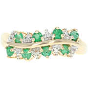 Emerald & Diamond Cocktail Ring - 10k Yellow Gold 0.32ctw Asymmetrical Green