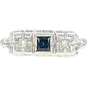Vintage Sapphire & Diamond Ring - 18k White Gold Princess Brilliant .23ctw