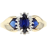 Synthetic Sapphire & Diamond Accent Ring - 10k Yellow Gold 1.10ct Marquise