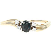 Sapphire & Diamond Bypass Ring - 14k Yellow Gold Oval Brilliant .55ctw