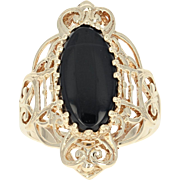 Onyx Ring - 10k Yellow Gold Solitaire Women's Size 8