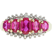 Five-Stone Synthetic Ruby Ring - 10k Yellow Gold Diamond Accents 1.75ctw