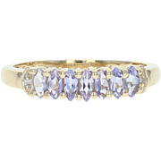 Tanzanite Ring - 10k Yellow Gold Diamond Accents Marquise Brilliant .70ctw