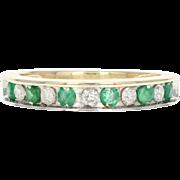 Emerald & Diamond Band Ring - 10k Yellow Gold Round Brilliant .45ctw