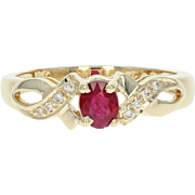 Ruby & Diamond Ring - 14k Yellow Gold Size 7 Oval Brilliant .42ctw