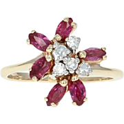 Ruby & Diamond Cluster Bypass Ring - 14k Yellow Gold Marquise Brilliant .80ctw