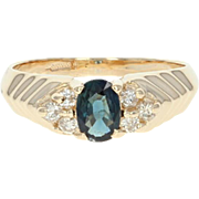 Sapphire & Diamond Ring - 14k Yellow Gold Oval Brilliant .78ctw