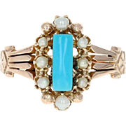 Victorian Turquoise & Seed Pearl Halo Ring - 10k Rose Gold Antique Size 8
