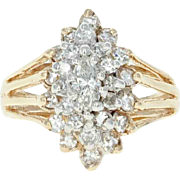 Tiered Diamond Cluster Ring - 14k Yellow Gold Marquise Brilliant .68ctw