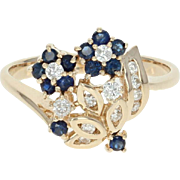 Floral Sapphire & Diamond Bypass Ring - 14k Gold Bouquet Round Brilliant .67ctw
