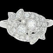 Retro Diamond Bypass Ring - 900 Platinum Vintage Round Brilliant .88ctw