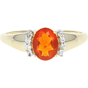 Fire Opal & Quartz Ring - 10k Yellow Gold 0.85ctw Oval Solitaire w/ Accents