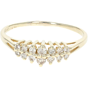 Tiered Diamond Ring - 14k Yellow Gold Size 8 1/4 Round Cut .33ctw