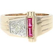 Vintage Men's Synthetic Ruby & Diamond Ring - 14k Yellow Gold Baguette .54ctw