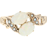 Victorian Opal & Seed Pearl Bypass Ring - 10k Yellow Gold Antique Size 6 1/2
