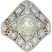 Art Deco Diamond Ring - 14k Gold & Platinum Vintage Old European 1.46ctw