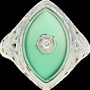 Art Deco Chalcedony Ring - 14k Yellow Gold Diamond Accent Vintage Filigree
