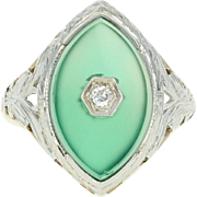 Art Deco Chalcedony Ring - 14k Yellow Gold Diamond Accent Vintage Filigree
