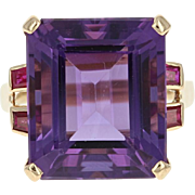 Retro Amethyst & Ruby Cocktail Ring - 18k Yellow Gold Vintage 15.60ctw