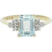 Aquamarine & Diamond Ring - 10k Yellow Gold Emerald Cut 1.42ctw