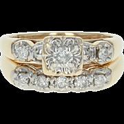 Vintage Diamond Engagement Ring & Wedding Band - 14k Gold Round Brilliant .42ctw