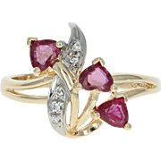 Ruby & Diamond Bypass Ring - 14k Yellow Gold Heart Brilliant 1.00ctw