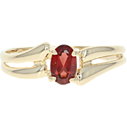 Garnet Solitaire Ring - 14k Yellow Gold Bypass Oval Brilliant .50ct