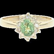 Chrysoberyl & Diamond Halo Ring - 18k Yellow Gold Oval Brilliant 1.20ctw