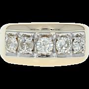 Men's Five-Stone Diamond Ring - 14k Yellow Gold Round Cut 1.35ctw