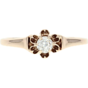 Victorian Diamond Ring - 14k Gold Engagement Buttercup Old Mine Brilliant .20ct
