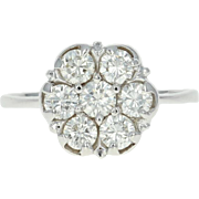 Floral Diamond Ring - 14k White Gold Cluster Round Cut 1.12ctw