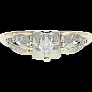 Art Deco Diamond Engagement Ring - 14k Yellow Gold Vintage European Cut .21ctw