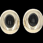 Black Onyx Earrings - 14k Yellow Gold Oval Cabochon Pierced