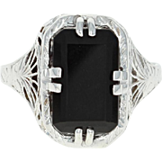 Art Deco Onyx Ring - 18k White Gold Vintage Filigree Size 5 3/4