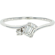 Diamond Bypass Ring - 18k White Gold Promise Engagement Emerald Cut .27ctw