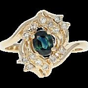 Sapphire & Diamond Bypass Ring - 14k Yellow Gold Oval Brilliant .57ctw
