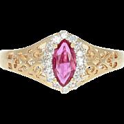 Ruby & Diamond Halo Ring - 14k Yellow Gold Marquise Brilliant .82ctw