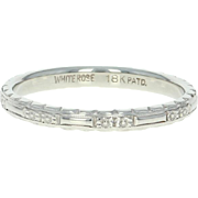 Art Deco Etched Floral Wedding Band - 18k White Gold Vintage Women's Ring Size 6