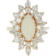 Opal & Diamond Halo Ring - 14k Yellow Gold Marquise Cabochon 3.08ctw